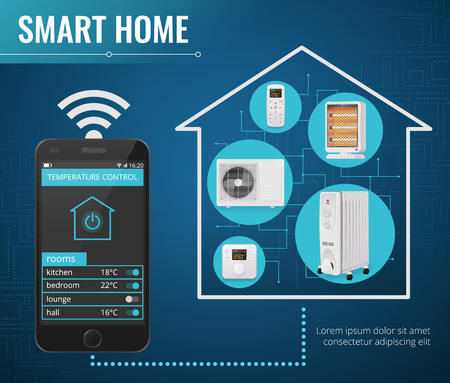 Smart home poster with climate control technology symbols realistic vector illustration