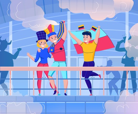 Flat fans cheering team composition with dancing and having fun three people vector illustration