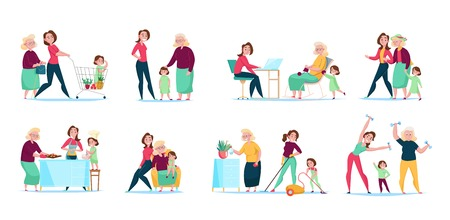 Three generations women family daily routine 8 flat compositions horizontal sets with shopping cleaning cooking vector illustration Çizim