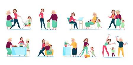 Tres generaciones, mujeres, familia, rutina diaria, 8 composiciones planas, conjuntos horizontales con compras, limpieza, cocina, ilustración vectorial Ilustración de vector