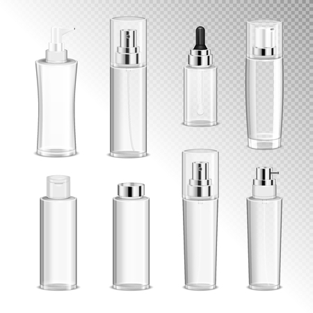 Cosmetics spray bottles with dispenser isolated icons set on transparent background vector illustration  Stock Illustratie