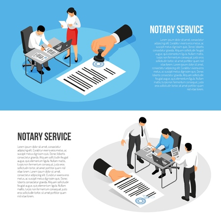 Notary service isometric horizontal banners with persons during documents execution isolated on blue white background vector illustration Illustration