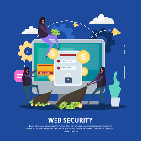Web security flat composition hacker attacks and monitor with protection of account on blue background vector illustration Illustration