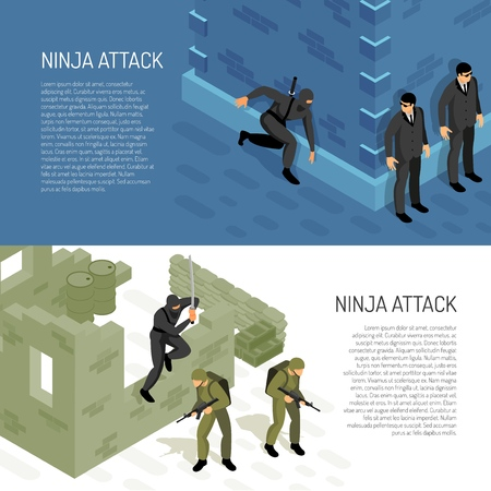 Video games ninja character warrior attacks soldiers and civil agents 2 horizontal isometric background banners vector illustration