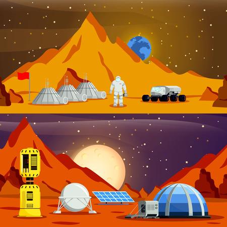 Le composizioni di colonizzazione del pianeta con il modulo base dell'astronauta serra solare e il rover spaziale hanno isolato l'illustrazione piana di vettore