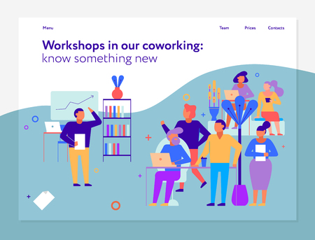 Workshops in coworking page design with new ideas symbols flat vector illustration