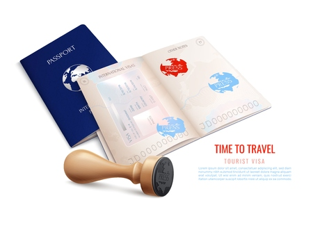 Biometric passport visa stamps realistic with time to travel tourist visa headline vector illustration