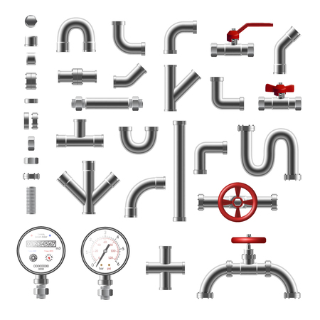 Pipeline parts and steel pipes of different shape realistic set isolated on white background vector illustration 向量圖像