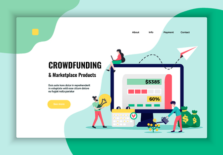 Crowdfunding money raising marketplace  products promotion concept website banner flat design with process flow diagram vector illustration