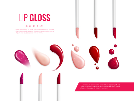 Lip gloss smears color realistic banner with different swatch glitter and matte vector illustration Vektorové ilustrace