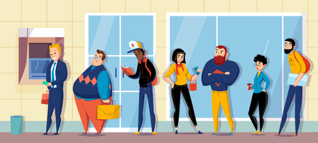 People queuing in bank lining up for atm cash machine waiting messaging flat horizontal composition vector illustration Illustration