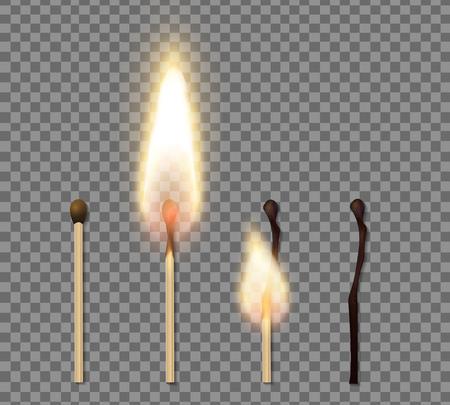 Icona realistica della fiamma del bastoncino di fiammifero impostata con quattro fasi di illustrazione vettoriale di fiammifero bruciato Vettoriali