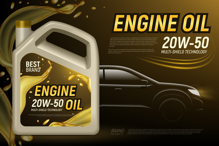 Realistic motor oil car silhouette ads background with editable text and composition of product package images vector illustration Ilustração