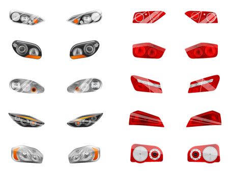 Realistic auto headlights set with twelve isolated images of different car front headlamps and brake lights vector illustration