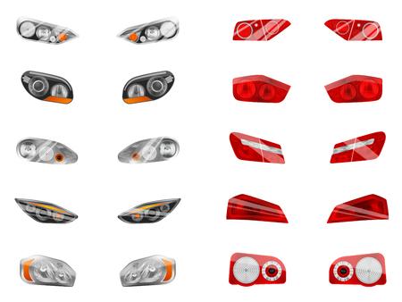 Realistische Autoscheinwerfer mit zwölf isolierten Bildern von verschiedenen Autoscheinwerfern und Bremslichtvektorillustrationen