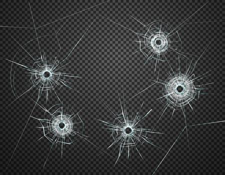Cinque fori di proiettile nell'immagine realistica del primo piano di vetro contro l'illustrazione trasparente scura di vettore del fondo