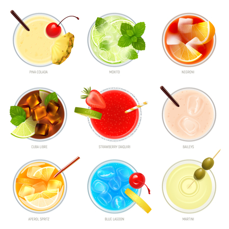 Realistic cocktails top view set with nine isolated images of cocktail glasses with toppings and text vector illustration