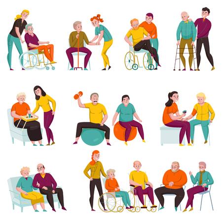 Vrijwilligers die ouderen en gehandicapten helpen in verpleeghuizen en privé-appartementen, vlakke pictogrammen instellen vectorillustratie