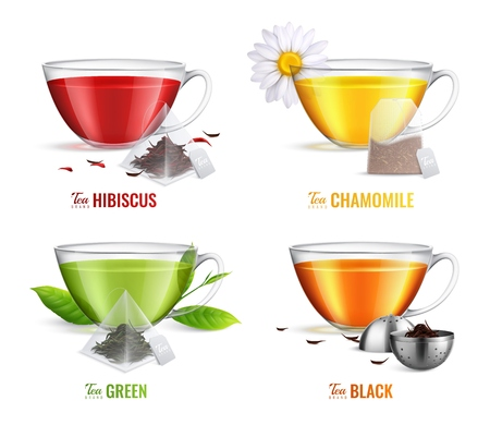Four square realistic tea brewing bag icon set with hibiscus chamomile green and black tea flavors vector illustration