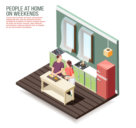 Loving couple at home in kitchen during cooking dinner at weekend isometric composition vector illustration