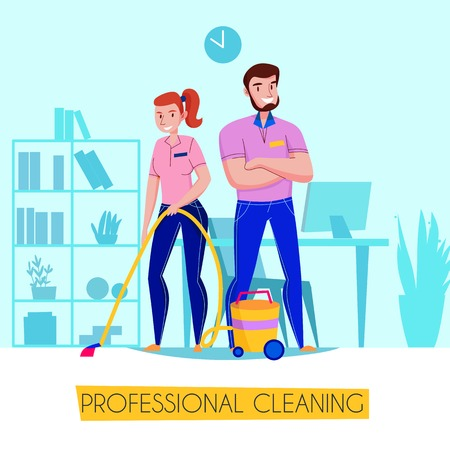 Affiche publicitaire à plat pour le service de nettoyage professionnel avec équipe en uniforme d'aspirateur au sol dans l'illustration vectorielle du salon Vecteurs