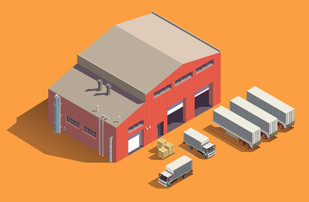 Industrial buildings isometric composition with fabric storage shed and set of trucks with containers and boxes vector illustration