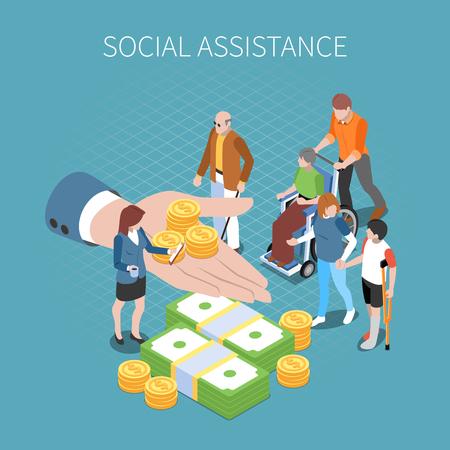 Beneficios de desempleo de la seguridad social composición isométrica de ingresos incondicionales con imagen conceptual de la mano humana con monedas ilustración vectorial