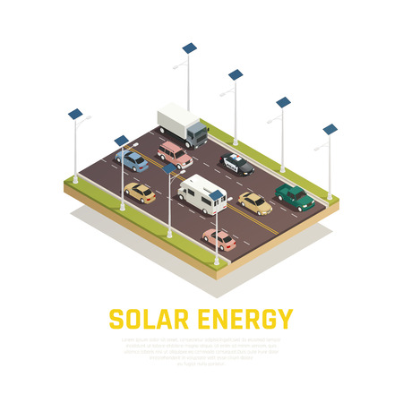 Solar energy concept with cars batteries and road isometric vector illustration