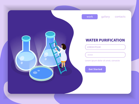 Water purification isometric colored composition with water purification button get started and registration form vector illustration