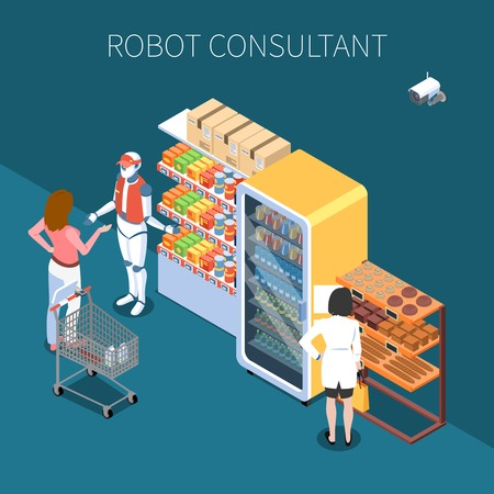 Shop technology isometric background with buyers and robot consultant in store of future interior vector illustration