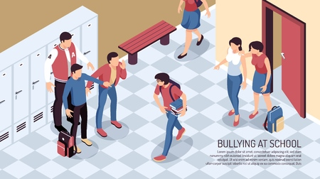 Isometric teenager horizontal composition with view of school passage with teenage human characters and editable text vector illustration