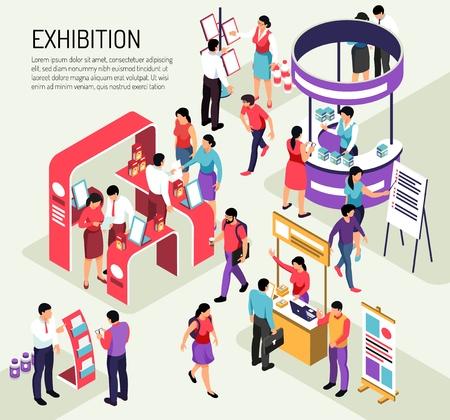 Isometrische tentoonstellingssamenstellingsachtergrond met bewerkbare tekstbeschrijving en kleurrijke tentoonstellingsstands vol met mensen vectorillustratie