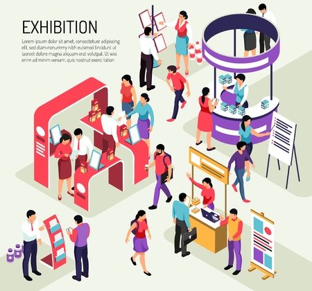 Isometric expo exhibition composition background with editable text description and colourful exhibit stands crowded with people vector illustration