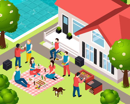 Bbq grill picnic isometic composition with company of friends at the party on back yard vector illustration
