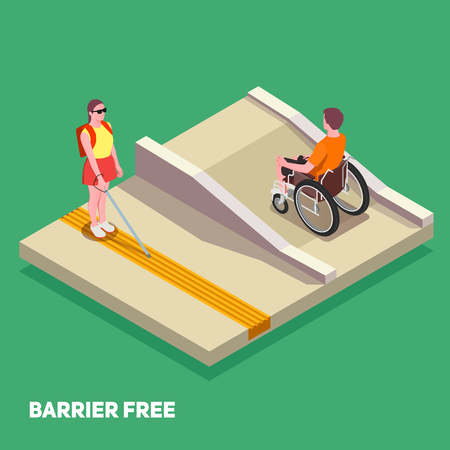 Inclusive education composition with boy in wheelchair and girl with white cane 3d isometric vector illustration Illustration
