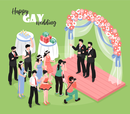 Gay wedding ceremony with professional photographer and guests on green background 3d isometric vector illustration Illustration