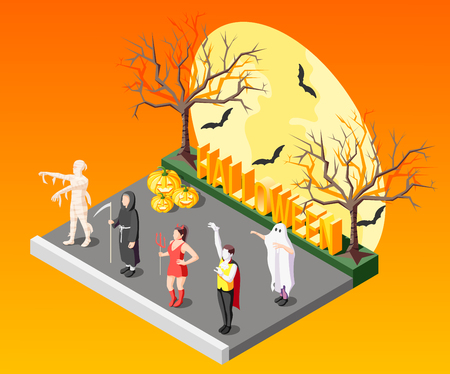 Halloween masquerade isometric composition with people in scary costumes on orange background with bats and bare trees 3d vector illustration Illustration