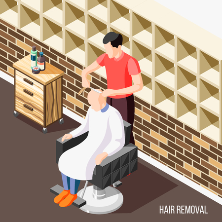 Hair removal isometric background with man having his head shaved in salon 3d vector illustration