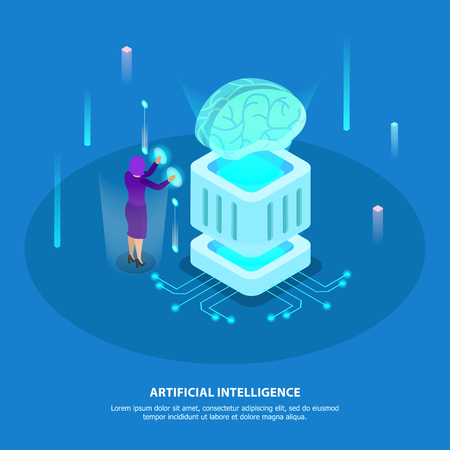 Artificial intelligence design concept with super computer chip and digital robotic brain isometric glow icons vector illustration