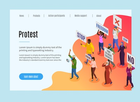 Politic protest landing page with text and visual information about motive of people  demonstration and strike isometric vector illustration