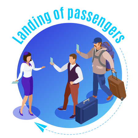 Travel people round background illustrated airport employee controlling landing of airplane passengers isometric vector illustration Ilustração