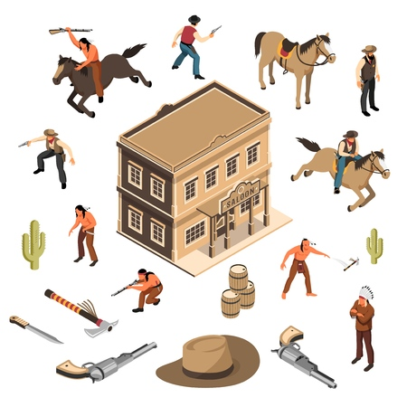 Wild west cowboys and native americans with weapon sheriff building of saloon isometric set isolated vector illustration