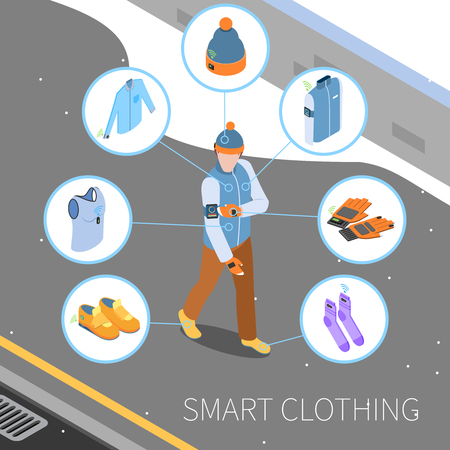 Wearable technology smart clothes isometric composition with human character and round icons with images of clothing vector illustration