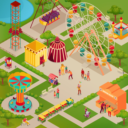 Amusement park with circus and various attractions street food adults and kids isometric vector illustration