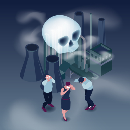 Pollution in city isometric concept with people and smoke isometric vector illustration