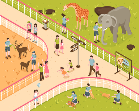 Isometric zoo composition with human characters of kids and adults with wild animals behind park fence vector illustration Illustration