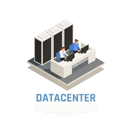 Datacenter concept with connection software and hardware symbols isometric vector illustration Illustration