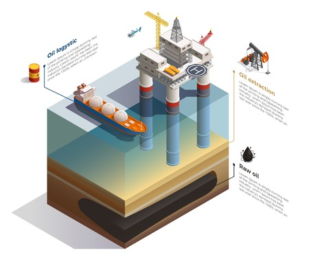 Raw oil undersea deposits extraction infographic isometric composition with drilling rig platform and transportation tanker vector illustration