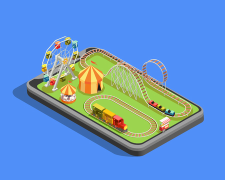 Isometric composition with different attractions in amusement park on blue background 3d vector illustration Illustration