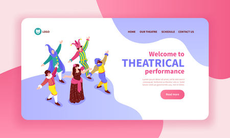 Isometric concept banner with dancing actors wearing classical costumes 3d vector illustration